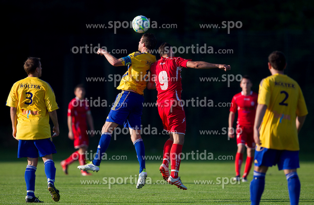 Klemen Kunstelj of Dob vs Marko Kmetec of Aluminij during football match between NK Aluminij Kidricevo and NK Roltek Dob in 27th, last Round of 2nd SNL, on May 19, 2012 in Sports park Kidricevo, Slovenia. NK Aluminij defeated NK Dob 2-1, won 2nd SNL and qualified to 1st SNL. (Photo by Vid Ponikvar / Sportida.com)