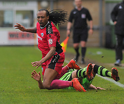 Forest Green Rovers's David Pipe is fouled by Dover Athletic's Ricky Modeste.  - Photo mandatory by-line: Nizaam Jones - Mobile: 07966 386802 - 25/04/2015 - SPORT - Football - Nailsworth - The New Lawn - Forest Green Rovers v Dover - Vanarama Conference League
