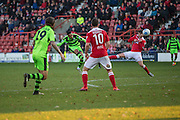Forest Green Rovers Keanu Marsh-Brown(7) shots from distance during the Vanarama National League match between Wrexham FC and Forest Green Rovers at the Racecourse Ground, Wrexham, United Kingdom on 26 November 2016. Photo by Shane Healey.