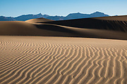 Sunrise on Mesquite Flat Dunes, near Stovepipe Wells in Death Valley National Park, California, USA. This dune field includes three types of dunes: crescent, linear, and star shaped. Polygon-cracked clay of an ancient lakebed forms the floor. Mesquite trees have created large hummocks that provide stable habitats for wildlife.