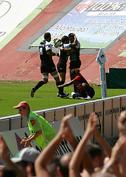 Montauban celebrate scoring their first try. Montauban defeated big-spending Toulon 21-18 in the Top 14 on Sunday to cap a memorable week for the south-western club. Stade Sapiac, Montauban, France, 6th September 2009.