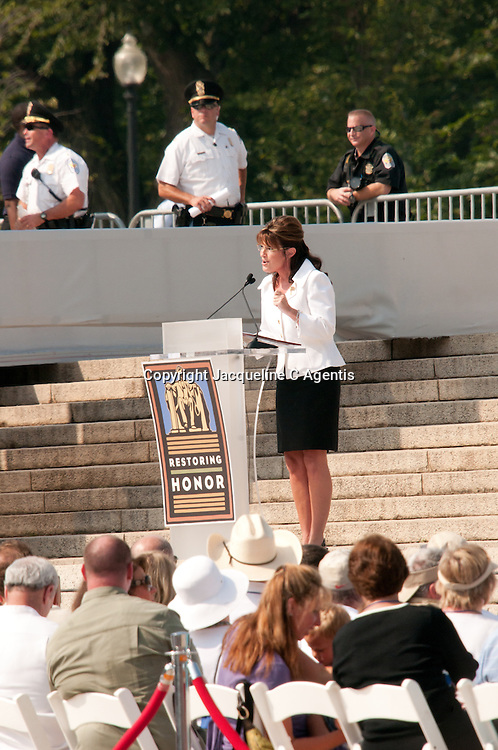 "Sarah Palin speaking at the Glen Beck Ralley Restoring Honor Washington DC at the Lincoln Memorial on the Day of Martin Luther King ""I Have A Dream"" Speech."