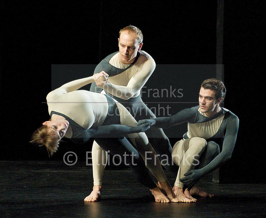Nearly Ninety<br /> The Merce Cunningham Dance Company <br /> choreography by Merce Cunningham<br /> at The Barbican Theatre, London, Great Britain <br /> rehesrsal <br /> 26th October 2010 <br /> <br /> <br /> <br /> <br /> John Hinrichs<br /> <br /> Jamie Scott<br /> <br /> Silas Riener<br /> <br /> <br /> <br /> Photograph by Elliott Franks<br /> 2010&copy;Elliott Franks