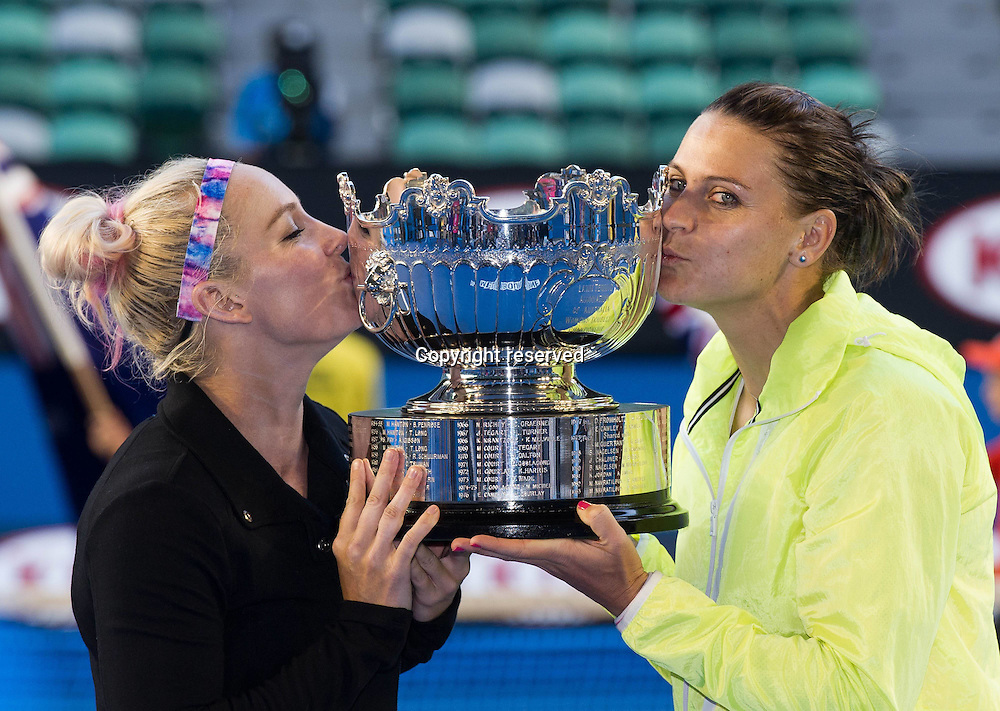 30.01.2014. Melbourne, Australia.  Bethanie Mattek-Sands (L) of the U.S. and Lucie Safarova of the Czech Republic kiss their trophy after winning their womens doubles final against Zheng Jie of China and Chan Yung-Jan of Chinese Taipei at the 2015 Australian Open tennis tournament at Melbourne Park in Melbourne, Australia, Jan. 30, 2015. Bethanie Mattek-Sands and Lucie Safarova won 2-0 to claim the title