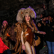 "Local community attends ""Welcome to the Forest"" with spectacular paraders with a amazing lights dress, drums and gorgrous samba dancers at Forest Road, Walthamstow on 13 January 2019, London, UK."