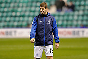 Jon Flanagan warms up for the Ladbrokes Scottish Premiership match between Hibernian and Rangers at Easter Road, Edinburgh, Scotland on 19 December 2018.