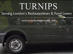 UK ENGLAND LONDON 27JUL13 - Turnips delivery van at Borough Market, Southwark, London.<br /> <br /> It is one of the largest and oldest food markets in London, and sells a large variety of foods from all over the world.<br /> <br /> <br /> <br /> jre/Photo by Jiri Rezac<br /> <br /> <br /> <br /> &copy; Jiri Rezac 2013