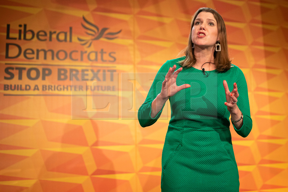 © Licensed to London News Pictures. 20/11/2019. London, UK. Liberal Democrat leader Jo Swinson speaks to supporters and parliamentary candidates as the Liberal Democrats launch their general election manifesto in Camden, North London.  Photo credit: Rob Pinney/LNP