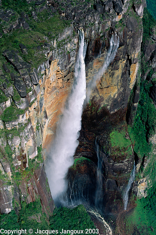 Aerial of Angel Falls, highest waterfall in world (979m) at Auyantepui table mountain,Canaima National Park, Venezuela, Bolivar State.