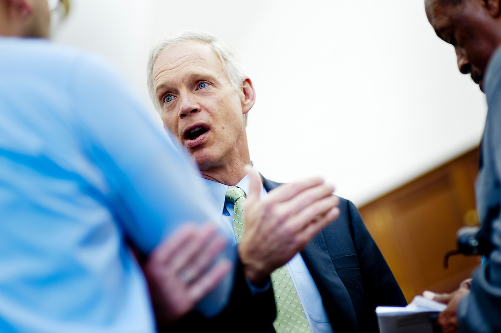 Senator RON JOHNSON (R-WI) during a press briefing on heathcare and the economy.