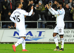 Nathan Dyer of Swansea City celebrates his goal with Wayne Routledge of Swansea City- Mandatory by-line: Nizaam Jones/JMP - 06/02/2018 - FOOTBALL - Liberty Stadium - Swansea, Wales - Swansea City v Notts County - Emirates FA Cup fourth round proper