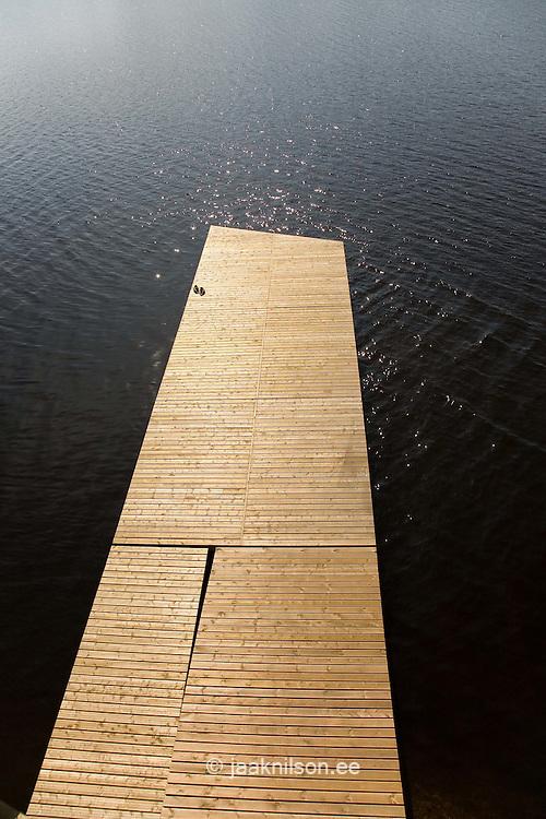 Rowing Slipway Wooden Jetty by Lake Viljandi, Estonia
