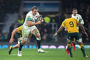Twickenham, Surrey. UK. England's Joe LAUNCHBURY, running towards Will GENIA, during the <br /> England VS Australia, Autumn International. Old Mutual Wealth Series. RFU Stadium, Twickenham. UK<br /> <br /> Saturday  18.11.17<br /> <br /> [Mandatory Credit Peter SPURRIER/Intersport Images]