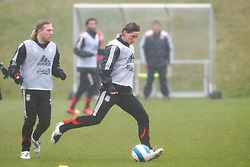 LIVERPOOL, ENGLAND - Friday, March 28, 2008: Liverpool's Fernando Torres and Andriy Voronin training at Melwood ahead of the Merseyside Derby match against Everton. (Photo by David Rawcliffe/Propaganda)
