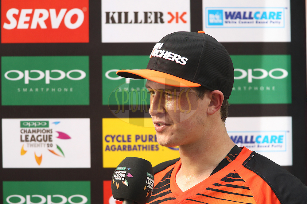 Joel Paris of the Perth Scorchers is interviewed at the innings break during match 4 of the Oppo Champions League Twenty20 between the Dolphins and the Perth Scorchers held at the Punjab Cricket Association Stadium, Mohali, India on the 20th September 2014<br /> <br /> Photo by:  Shaun Roy / Sportzpics/ CLT20<br /> <br /> <br /> Image use is subject to the terms and conditions as laid out by the BCCI/ CLT20.  The terms and conditions can be downloaded here:<br /> <br /> http://sportzpics.photoshelter.com/gallery/CLT20-Image-Terms-and-Conditions-2014/G0000IfNJn535VPU/C0000QhhKadWcjYs