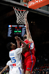 12.09.2014, City Arena, Madrid, ESP, FIBA WM, Frankreich vs Serbien, Halbfinale, im Bild France´s Gelabale (L) and Serbia´s Teodosic // during FIBA Basketball World Cup Spain 2014 semifinal match between France and Serbia at the City Arena in Madrid, Spain on 2014/09/12. EXPA Pictures © 2014, PhotoCredit: EXPA/ Alterphotos/ Victor Blanco<br /> <br /> *****ATTENTION - OUT of ESP, SUI*****