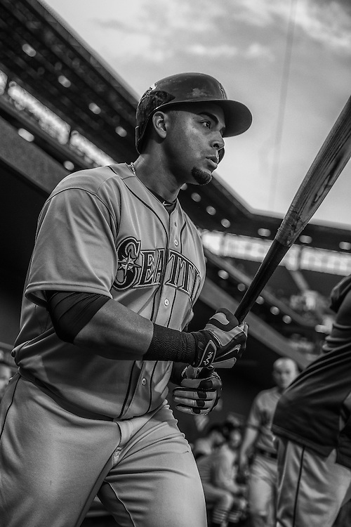 BALTIMORE, MD - MAY 20:  (EDITORS NOTE: Image has been converted to black and white) Nelson Cruz #23 of the Seattle Mariners looks on during the game against the Baltimore Orioles at Oriole Park at Camden Yards on May 20, 2015 in Baltimore, Maryland. (Photo by Rob Tringali) *** Local Caption *** Nelson Cruz
