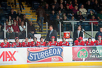 KELOWNA, CANADA - MARCH 5: The Spokane Chiefs sit on the bench against the Kelowna Rockets on March 5, 2014 at Prospera Place in Kelowna, British Columbia, Canada.   (Photo by Marissa Baecker/Getty Images)  *** Local Caption ***