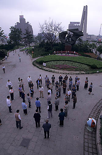 China, Cities, Residents exercising in morning. Shanghai.