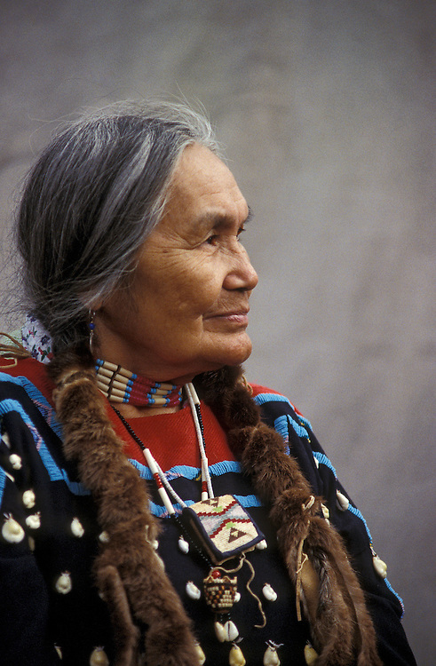 Native American woman Cecilia Bearchum, a tribal elder on the Umatilla Indian Reservation in northeast Oregon.