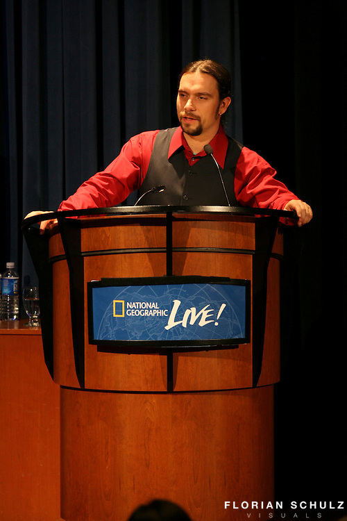 Florian Schulz speaking about his Y2Y - Freedom to Roam project at Grosvenor Auditorium in D.C. as part of National Geographic's Heroes of our Planet lecture series.