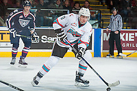 KELOWNA, CANADA - JANUARY 9: Tanner Wishnowski #9 of Kelowna Rockets skates with the puck against the Tri City Americans on January 9, 2016 at Prospera Place in Kelowna, British Columbia, Canada.  (Photo by Marissa Baecker/Shoot the Breeze)  *** Local Caption *** Tanner Wishnowski;
