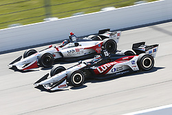 July 8, 2018 - Newton, Iowa, United States of America - GRAHAM RAHAL (15) of the United States battles for position during the Iowa Corn 300 at Iowa Speedway in Newton, Iowa. (Credit Image: © Justin R. Noe Asp Inc/ASP via ZUMA Wire)