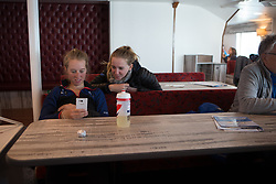 Alice Barnes (GBR) of Team GB and Team WNT soigneur Jessie Walker share a fun moment on the ferry on the way to the island of Borkum before Stage 5 of the Healthy Ageing Tour - a 117.9 km road race, starting and finishing in Borkum on April 9, 2017, in Groeningen, Netherlands.