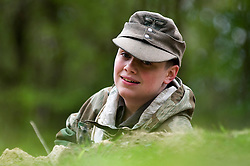 A reenactor from Northern World War Two Association, dressed as a German Soldier, takes part in a private 24hr excerise, held at Sutton Grange, near Ripon in Yorkshire 15  May 2010 .Images © Paul David Drabble.