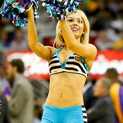 Dec 5, 2012; New Orleans, LA, USA; A New Orleans Hornets Honeybees dancer performs during the second half of a game against the Los Angeles Lakers at the New Orleans Arena. The Lakers defeated the Hornets 103-87.  Mandatory Credit: Derick E. Hingle-USA TODAY Sports