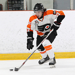 BURLINGTON, ON - SEP 9:  Vince Bonaiuto #27 of the Orangeville Flyers skates with the puck in the first period during the OJHL regular season game between the Orangeville Flyers and the Burlington Cougars. Orangeville Flyers and Burlington Cougars  on September 9, 2016 in Burlington, Ontario. (Photo by Tim Bates / OJHL Images)