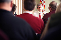 JEROME A. POLLOS/Press..Gov. Butch Otter fields questions during a meeting with residents and city officials in Bonners Ferry.