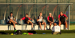PODGORICA, MONTENEGRO - Thursday, September 2, 2010: Wales' L-R Andy Dorman, physiotherapist Dyfri Owen, Steve Morison, assistant coach Roy Evans and manager John Toshack MBE during a training session at the Montenegro FA Technical Centre ahead of the UEFA Euro 2012 Qualifying Group 4 match against Montenegro. (Pic by David Rawcliffe/Propaganda)