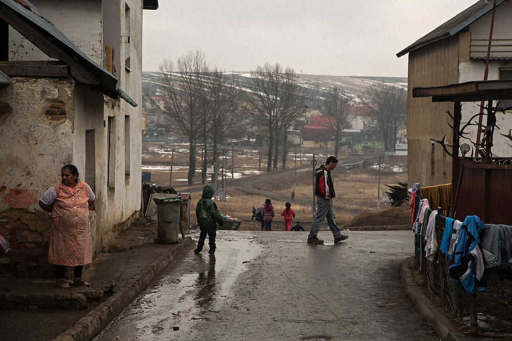 Children running and playing in the village of Huncovce, Slovakia.