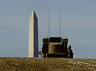 A 9/13 MG IMAGE OF:..Washington, DC 2/13/03 Avenger Missile system on guard in Southeast Washington with the Washington Monument in background.  Photo by Dennis Brack