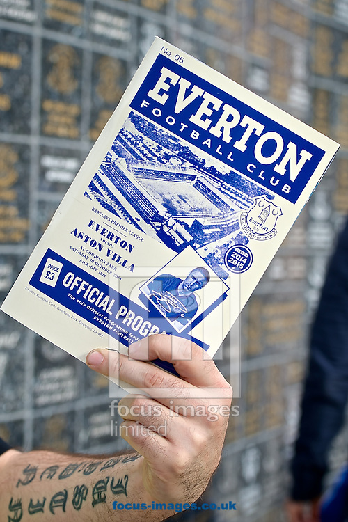 General view of the exterior of the stadium showing match day programme on sale pictured ahead of the Barclays Premier League match at Goodison Park, Liverpool<br /> Picture by Ian Wadkins/Focus Images Ltd +44 7877 568959<br /> 18/10/2014