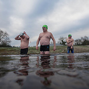 21.01.17<br /> Ice Swimmers Feature. <br /> Pictured at Castleconnell, Limerick are left to right, John Ryan, Pearse Ryan and Mark Dempsey. Picture: Alan Place