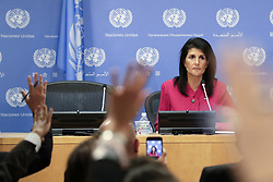 April 3, 2017 - New York, New York, U.S. - NIKKI HALEY, U.S. Ambassador to the United Nations, briefs journalists at UN headquarters. The United States holds the rotating presidency of the UN Security Council for April, and Haley held a briefing on the Council's work for the month. (Credit Image: © Li Muzi/Xinhua via ZUMA Wire)