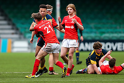 Alex Bartley (Solihull School) of Worcester Warriors U18 is tackled by James Elms of Saracens U18 - Rogan Thomson/JMP - 16/02/2017 - RUGBY UNION - Sixways Stadium - Worcester, England - Worcester Warriors U18 v Saracens U18 - Premiership Rugby Under 18 Academy Finals Day 5th Place Play-Off.