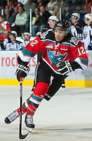 KELOWNA, CANADA - OCTOBER 3:  Tyrell Goulbourne #12 of the Kelowna Rockets skates on the ice against the Vancouver Giants at the Kelowna Rockets on October 3, 2012 at Prospera Place in Kelowna, British Columbia, Canada (Photo by Marissa Baecker/Getty Images) *** Local Caption *** Tyrell Goulbourne;