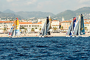 SAP, Emirates Team New Zealand, two minutes to race start on day two of the Extreme Sailing Series at Nice. 3/10/2014