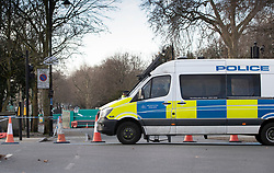 © Licensed to London News Pictures. 14/12/2019. London, UK. A police vehicle is parked on Chelsea Embankment near  the Thames Tideway sewer works building site on The River Thames after a controlled explosion was carried out on a WW2 unexploded bomb. Photo credit: Peter Macdiarmid/LNP
