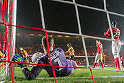 GOAL. Hull City forward Keane Lewis-Potter's (31) header bounces off Charlton Athletic goalkeeper Dillon Phillips (1) and into the goal during to the EFL Sky Bet Championship match between Charlton Athletic and Hull City at The Valley, London, England on 13 December 2019.