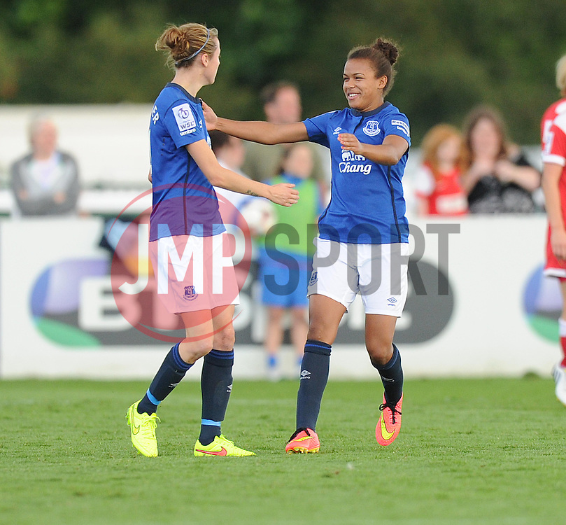 Everton ladies Nikta Parris Celebrates with Everton ladies Fern Whelan after scoring. - Photo mandatory by-line: Alex James/JMP - Mobile: 07966 386802 23/08/2014 - SPORT - FOOTBALL - Bristol  - Bristol Academy v Everton Ladies - FA Women's Super league