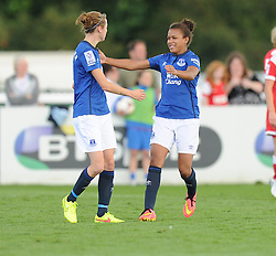 Everton ladies Nikta Parris Celebrates with Everton ladies Fern Whelan after scoring. - Photo mandatory by-line: Alex James/JMP - Mobile: 07966 386802 23/08/2014 - SPORT - FOOTBALL - Bristol  - Bristol Academy v Everton Ladies - FA Women's Super league