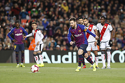 March 9, 2019 - Barcelona, Catalonia, Spain - FC Barcelona forward Lionel Messi (10) goal action during the match FC Barcelona v Rayo Vallecano, for the round 27 of La Liga played at Camp Nou  on 9th March 2019 in Barcelona, Spain. (Credit Image: © Mikel Trigueros/NurPhoto via ZUMA Press)