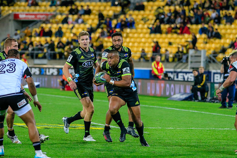 Julian Savea with the ball during the Super Rugby union game between Hurricanes and Sunwolves, played at Westpac Stadium, Wellington, New Zealand on 27 April 2018.   Hurricanes won 43-15.