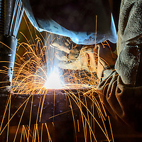 020215       Adron Gardner<br /> <br /> Olson Charleston works on a weld at the University of New Mexico in Gallup Monday.