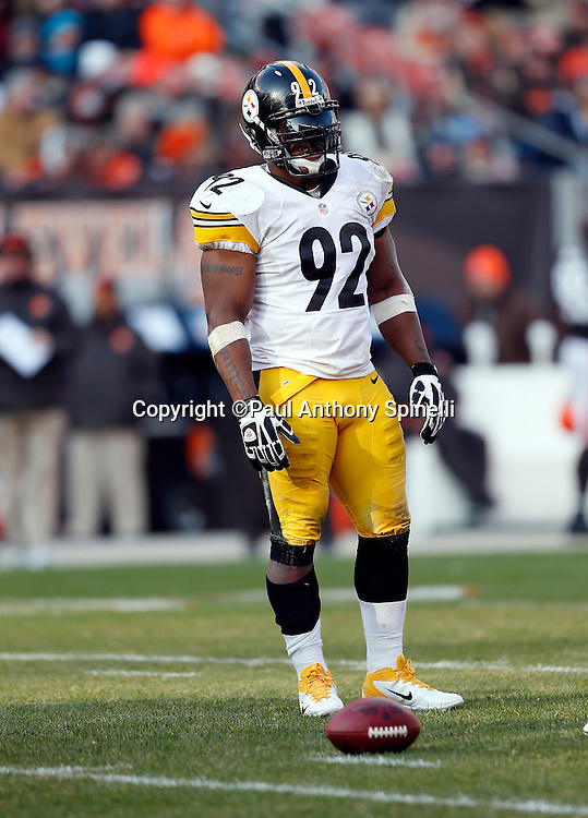 Pittsburgh Steelers outside linebacker James Harrison (92) looks on during the NFL week 12 football game against the Cleveland Browns on Sunday, Nov. 25, 2012 in Cleveland. The Browns won the game 20-14. ©Paul Anthony Spinelli