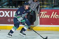 KELOWNA, CANADA - APRIL 25: Scott Eansor #8 of the Seattle Thunderbirds skates against the Kelowna Rockets on April 25, 2017 at Prospera Place in Kelowna, British Columbia, Canada.  (Photo by Marissa Baecker/Shoot the Breeze)  *** Local Caption ***